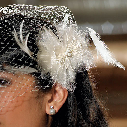 Bridal birdcage fascinator