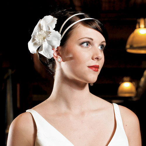 Cream fascinator beaded center