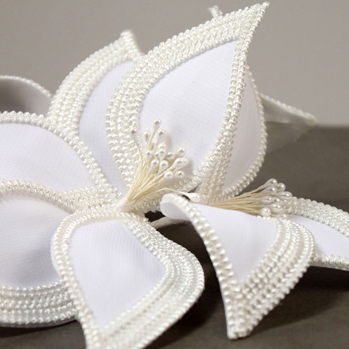 Detail Cream headband fascinator beads border