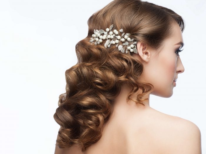Long hairstyle with bridal headpiece