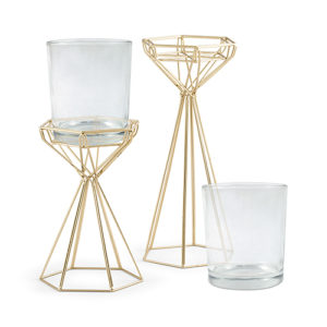 Gold modern geo candle holder