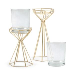 Gold modern geo candle holder