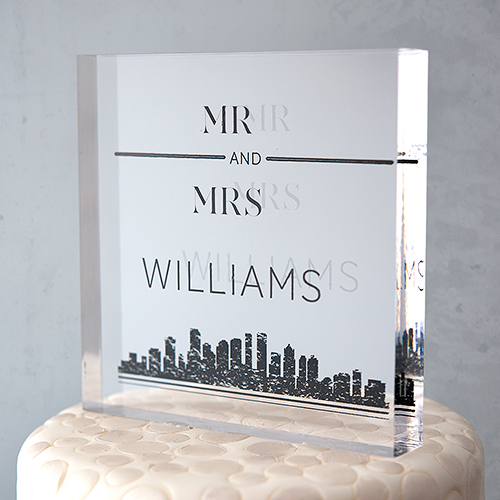 Clear acrylic block wedding cake topper