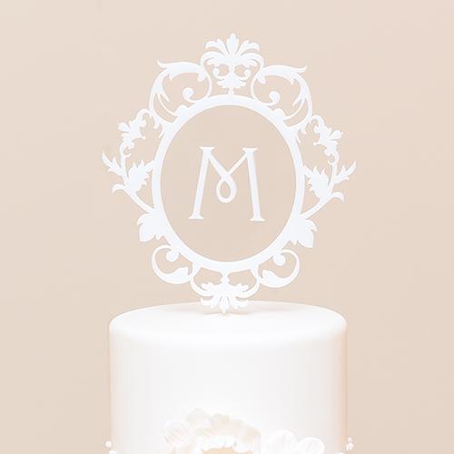 Elegant wedding monogram cake topper