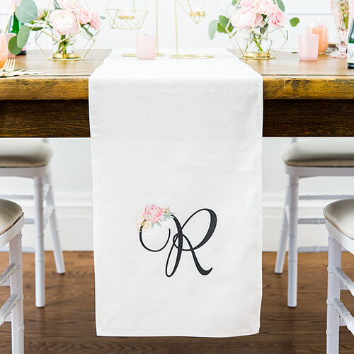 Wedding linen table runner with monogram