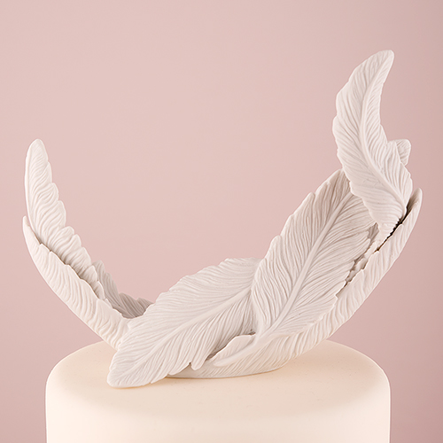 Wedding cake topper porcelain feathers