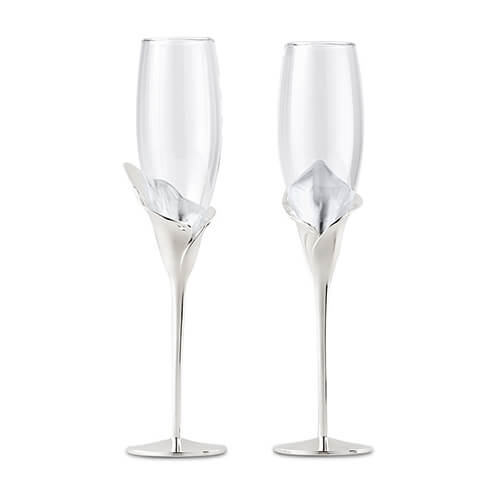 Silver plated champagne flutes