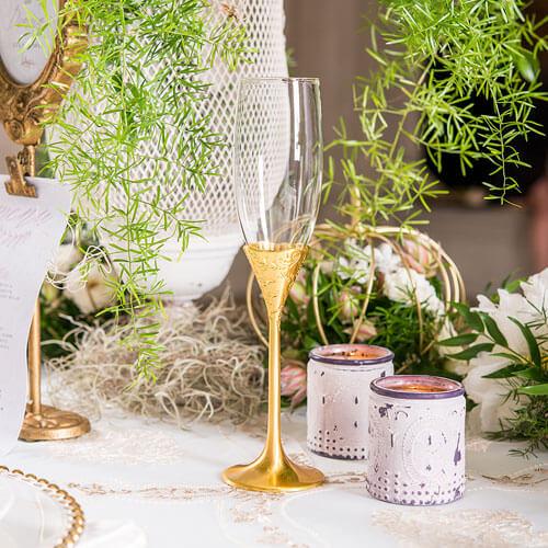 Decorative gold stem champgagne flute
