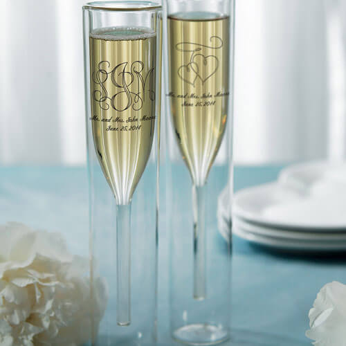 Double walled champagne glass