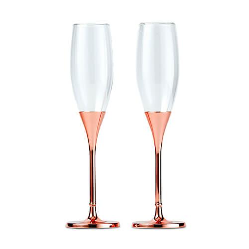 Rose gold stem champagne flute set
