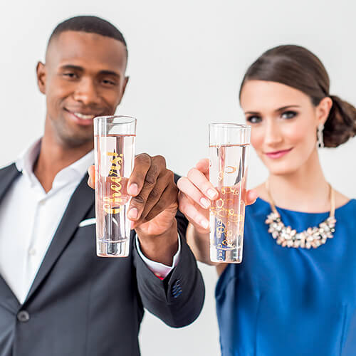 Stemless modern champagne flutes