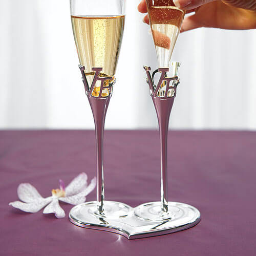 Champagne flutes with holder