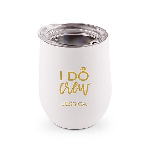 White stainless steel wine glass with printing