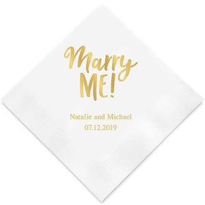 Engagement party napkins with names