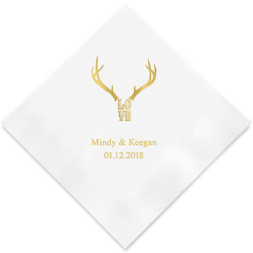 Rustic personalized wedding napkins