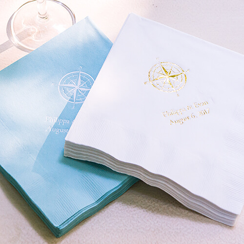 Personalized wedding napkins for travel lovers