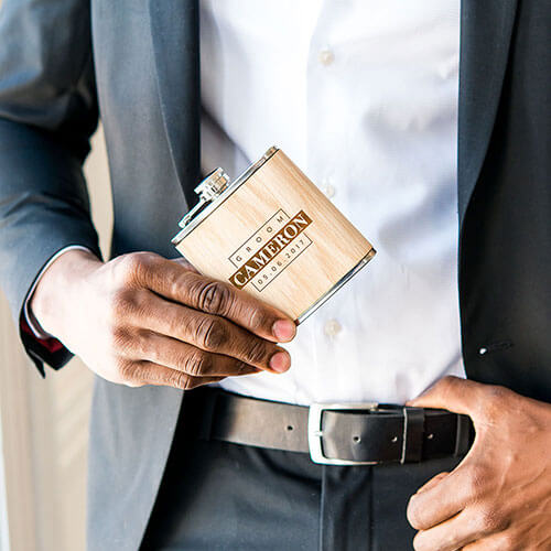 Groom personalized favor hip flask