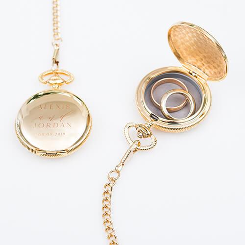 Engraved pocket watch ring holder
