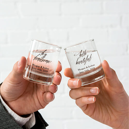 Personalized wedding shot glasses