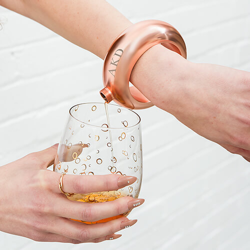 Bangle flask favors for the bridesmaids