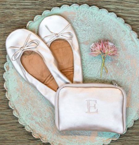 Monogrammed foldable flats wedding favor