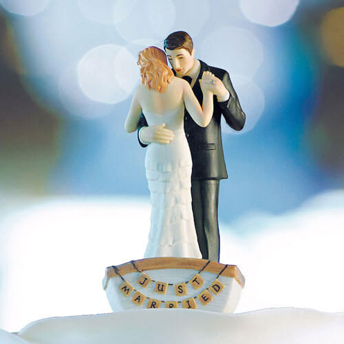Rowboat wedding cake topper