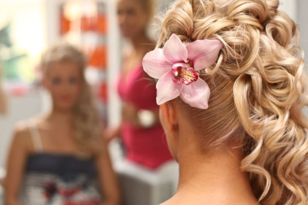 Wedding side swept cascading curls