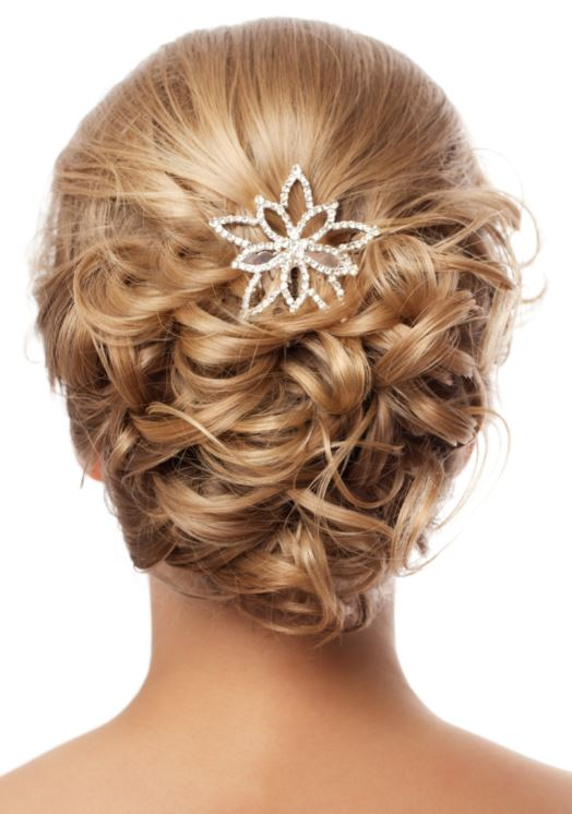 Curly hair wedding updo