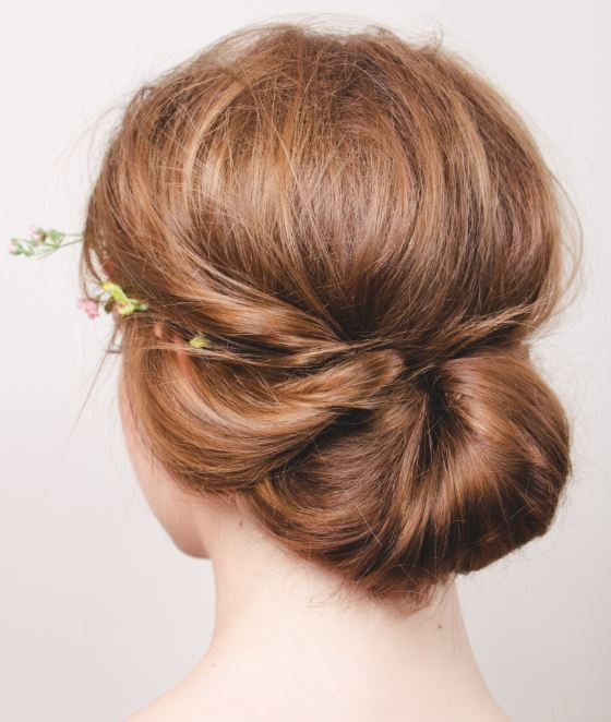 Wedding hair medium length messy bun