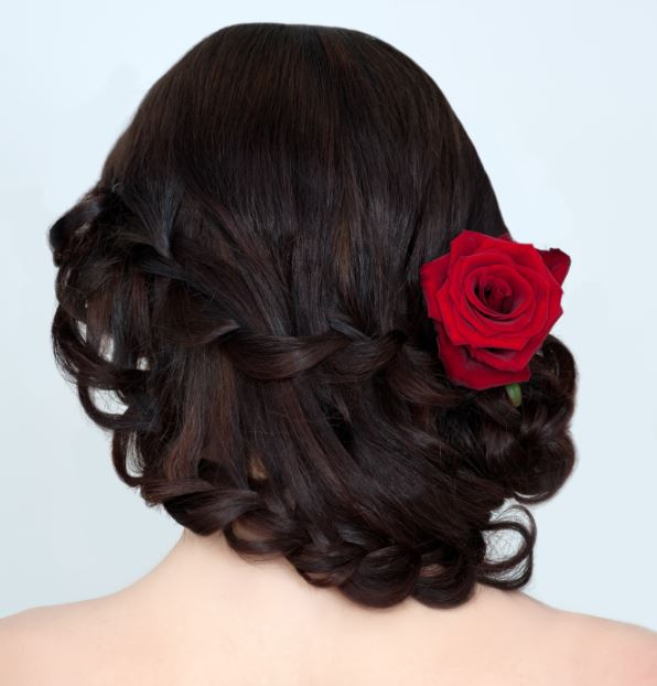 Wedding hairstyle medium length hair loose braids
