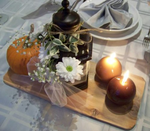 Fall wedding centerpieces lantern and candles