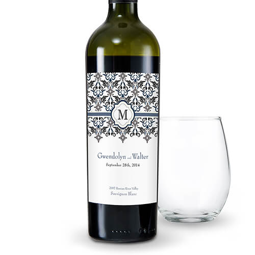 Damask wedding wine labesl