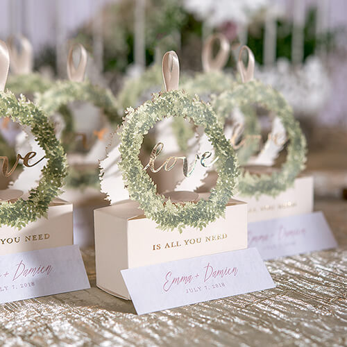 Country wedding guest favors box