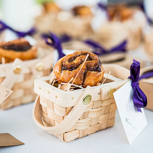 Country wedding guests favor basket treat
