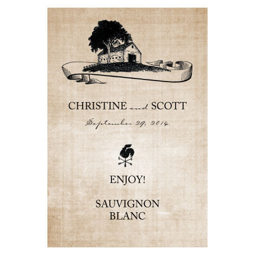 Country style wedding wine labels