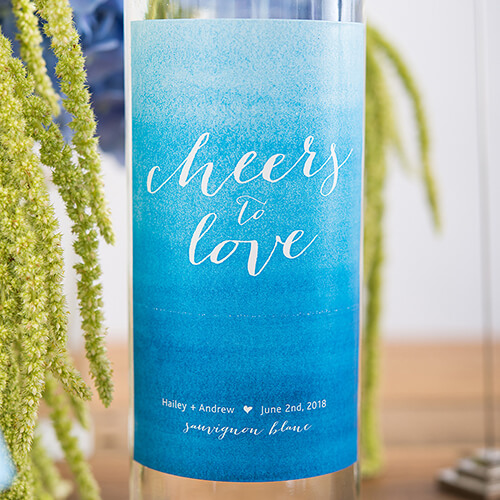 Beach theme wine bottle labels