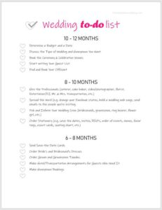 printable wedding planning checklist