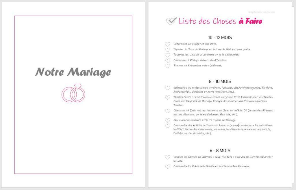 Liste de planification de mariage